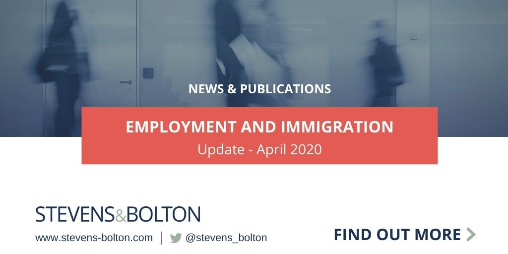 Employment and immigration update - April 2020