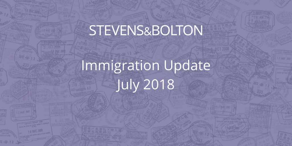 Immigration Update - July 2018