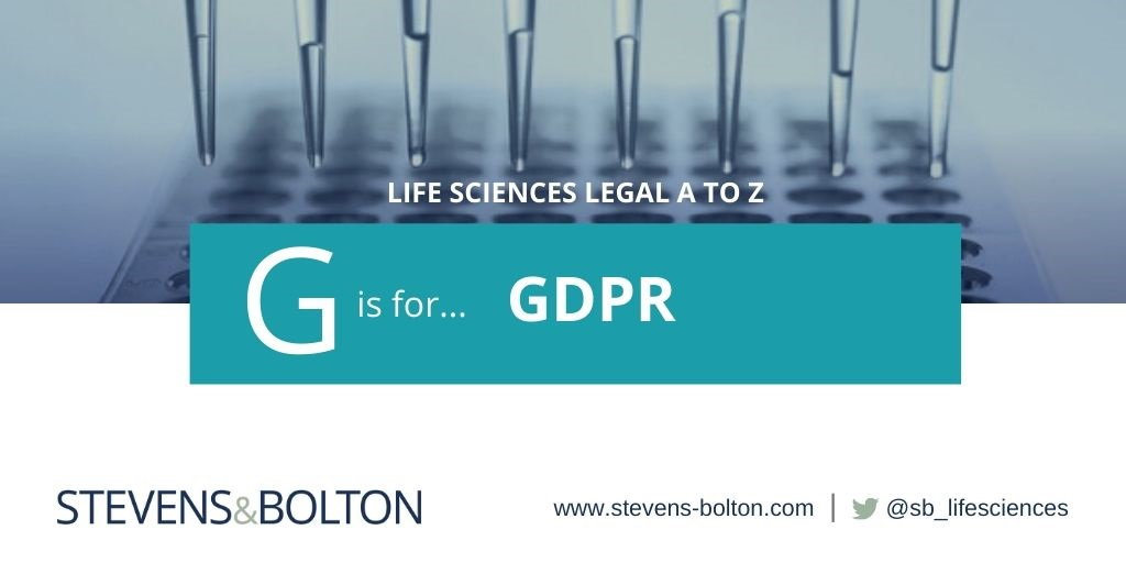 Life sciences A to Z - G is for GDPR
