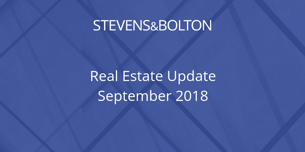 Real Estate Bulletin - September 2018