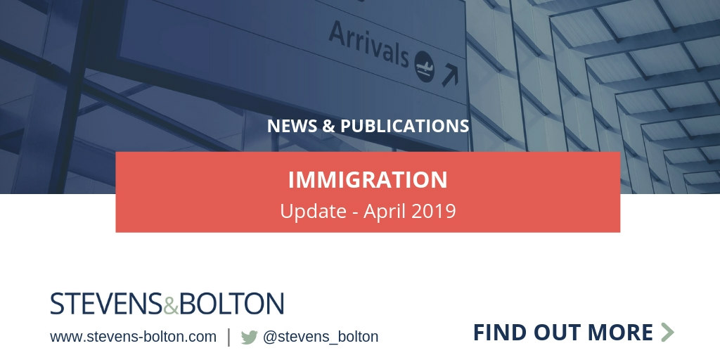 Immigration Update - April 2019